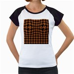 HOUNDSTOOTH1 BLACK MARBLE & RUSTED METAL Women s Cap Sleeve T Front