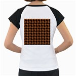 HOUNDSTOOTH1 BLACK MARBLE & RUSTED METAL Women s Cap Sleeve T Back