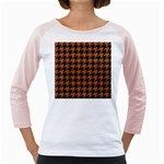 HOUNDSTOOTH1 BLACK MARBLE & RUSTED METAL Girly Raglans Front