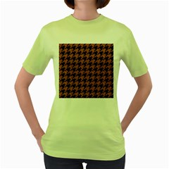 Houndstooth1 Black Marble & Rusted Metal Women s Green T Shirt