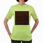 HOUNDSTOOTH1 BLACK MARBLE & RUSTED METAL Women s Green T-Shirt Front