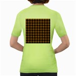 HOUNDSTOOTH1 BLACK MARBLE & RUSTED METAL Women s Green T-Shirt Back