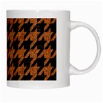 HOUNDSTOOTH1 BLACK MARBLE & RUSTED METAL White Mugs Right