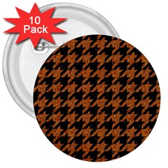 Houndstooth1 Black Marble & Rusted Metal 3  Buttons (10 Pack)