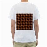 HOUNDSTOOTH1 BLACK MARBLE & RUSTED METAL Men s T-Shirt (White) (Two Sided) Back