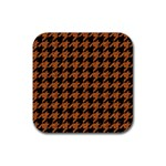 HOUNDSTOOTH1 BLACK MARBLE & RUSTED METAL Rubber Square Coaster (4 pack)  Front