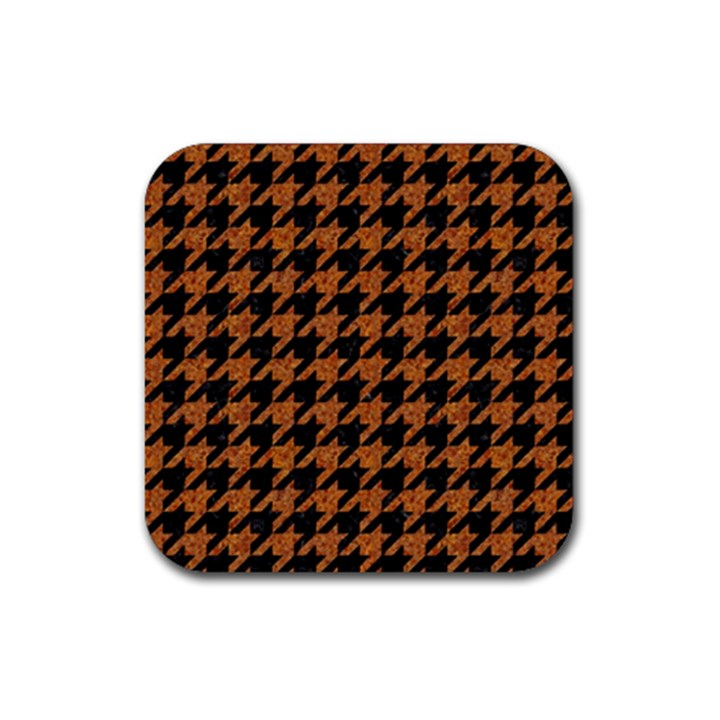 HOUNDSTOOTH1 BLACK MARBLE & RUSTED METAL Rubber Square Coaster (4 pack)
