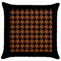 Houndstooth1 Black Marble & Rusted Metal Throw Pillow Case (black)