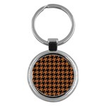 HOUNDSTOOTH1 BLACK MARBLE & RUSTED METAL Key Chains (Round)  Front