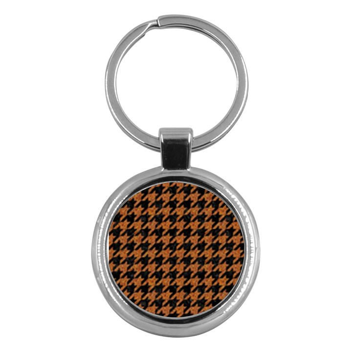HOUNDSTOOTH1 BLACK MARBLE & RUSTED METAL Key Chains (Round)