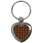 HOUNDSTOOTH1 BLACK MARBLE & RUSTED METAL Key Chains (Heart)  Front