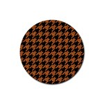 HOUNDSTOOTH1 BLACK MARBLE & RUSTED METAL Rubber Coaster (Round)  Front
