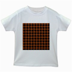 Houndstooth1 Black Marble & Rusted Metal Kids White T Shirts