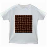 HOUNDSTOOTH1 BLACK MARBLE & RUSTED METAL Kids White T-Shirts Front