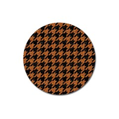 Houndstooth1 Black Marble & Rusted Metal Magnet 3  (round)