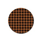 HOUNDSTOOTH1 BLACK MARBLE & RUSTED METAL Magnet 3  (Round) Front