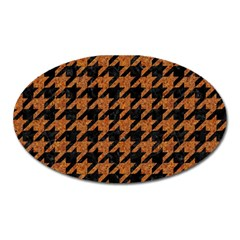 Houndstooth1 Black Marble & Rusted Metal Oval Magnet