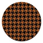 HOUNDSTOOTH1 BLACK MARBLE & RUSTED METAL Magnet 5  (Round) Front