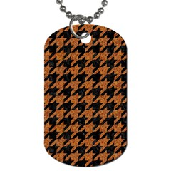 Houndstooth1 Black Marble & Rusted Metal Dog Tag (two Sides)
