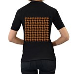 HOUNDSTOOTH1 BLACK MARBLE & RUSTED METAL Women s T-Shirt (Black) (Two Sided) Back