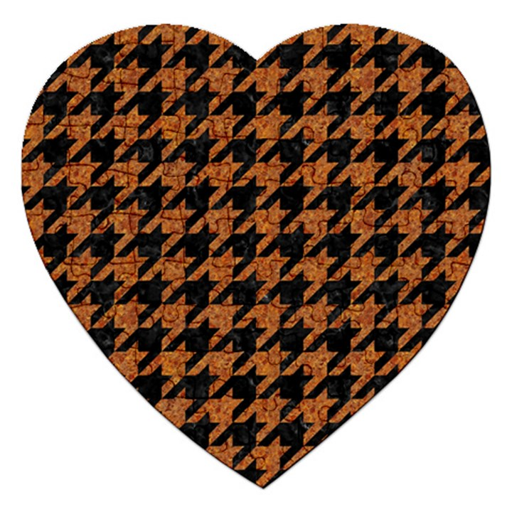 HOUNDSTOOTH1 BLACK MARBLE & RUSTED METAL Jigsaw Puzzle (Heart)