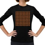 HOUNDSTOOTH1 BLACK MARBLE & RUSTED METAL Women s Long Sleeve Dark T-Shirts Front