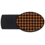 HOUNDSTOOTH1 BLACK MARBLE & RUSTED METAL USB Flash Drive Oval (4 GB) Front