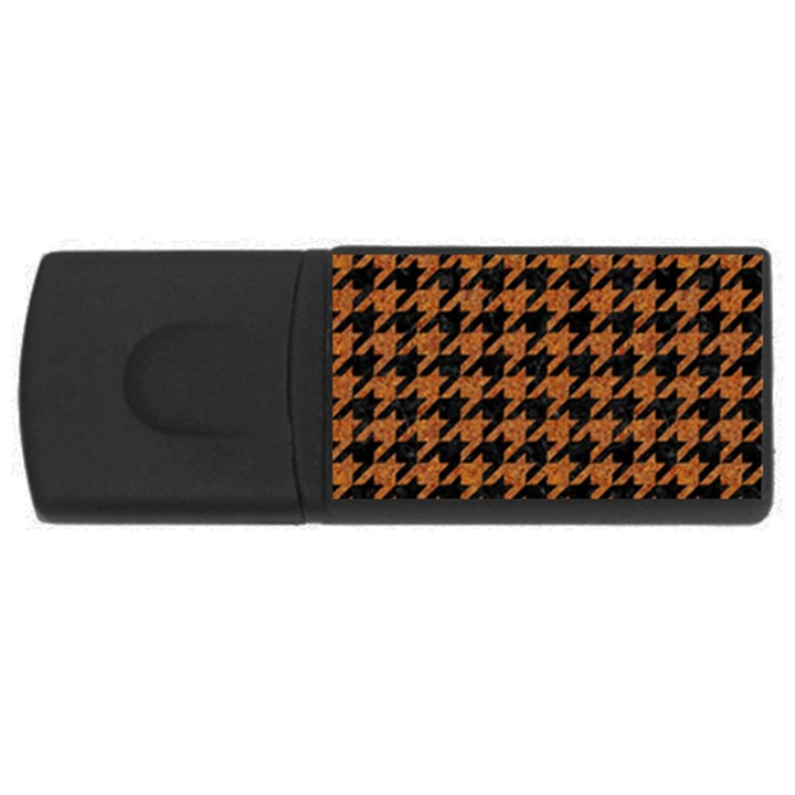 HOUNDSTOOTH1 BLACK MARBLE & RUSTED METAL Rectangular USB Flash Drive
