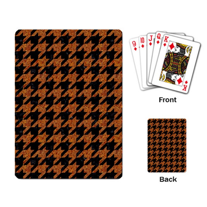 HOUNDSTOOTH1 BLACK MARBLE & RUSTED METAL Playing Card