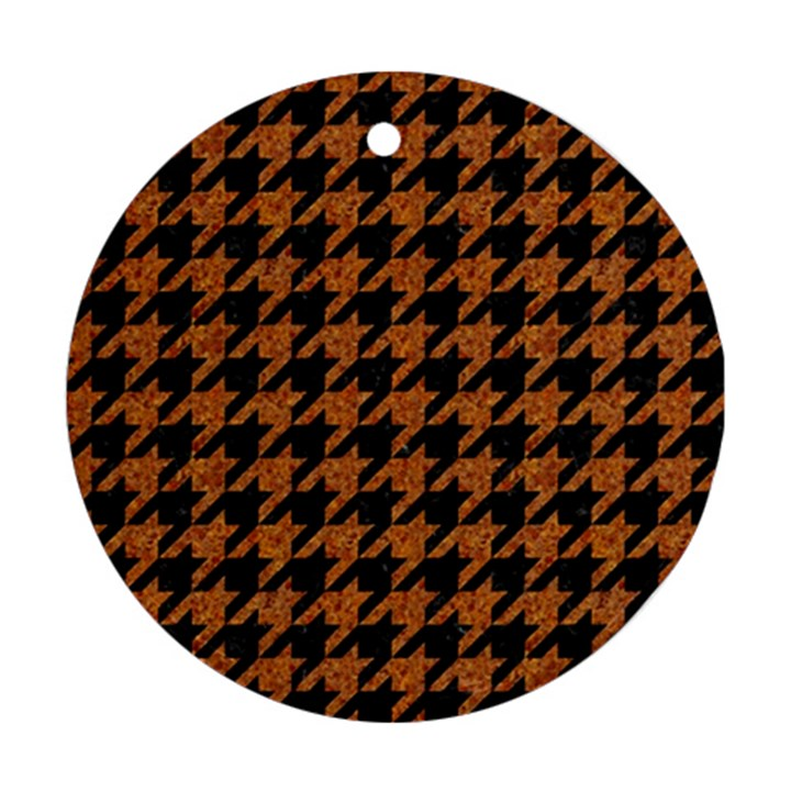 HOUNDSTOOTH1 BLACK MARBLE & RUSTED METAL Round Ornament (Two Sides)