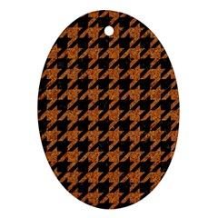 Houndstooth1 Black Marble & Rusted Metal Oval Ornament (two Sides)