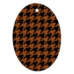 HOUNDSTOOTH1 BLACK MARBLE & RUSTED METAL Oval Ornament (Two Sides) Back