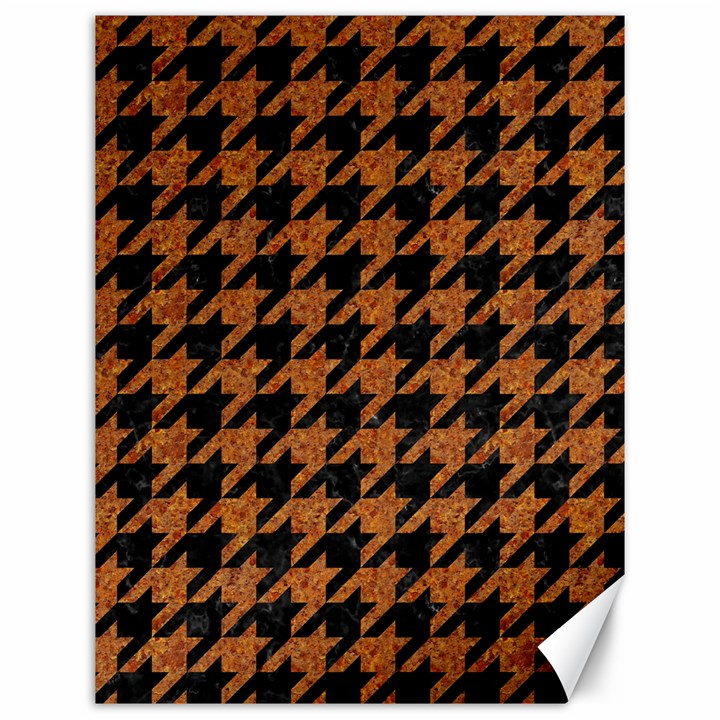 HOUNDSTOOTH1 BLACK MARBLE & RUSTED METAL Canvas 12  x 16