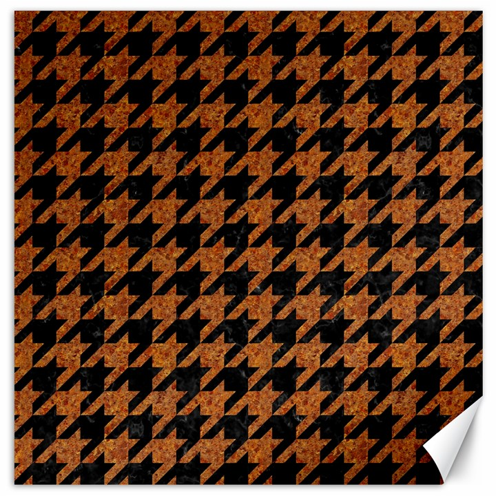 HOUNDSTOOTH1 BLACK MARBLE & RUSTED METAL Canvas 20  x 20