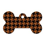 HOUNDSTOOTH1 BLACK MARBLE & RUSTED METAL Dog Tag Bone (One Side) Front