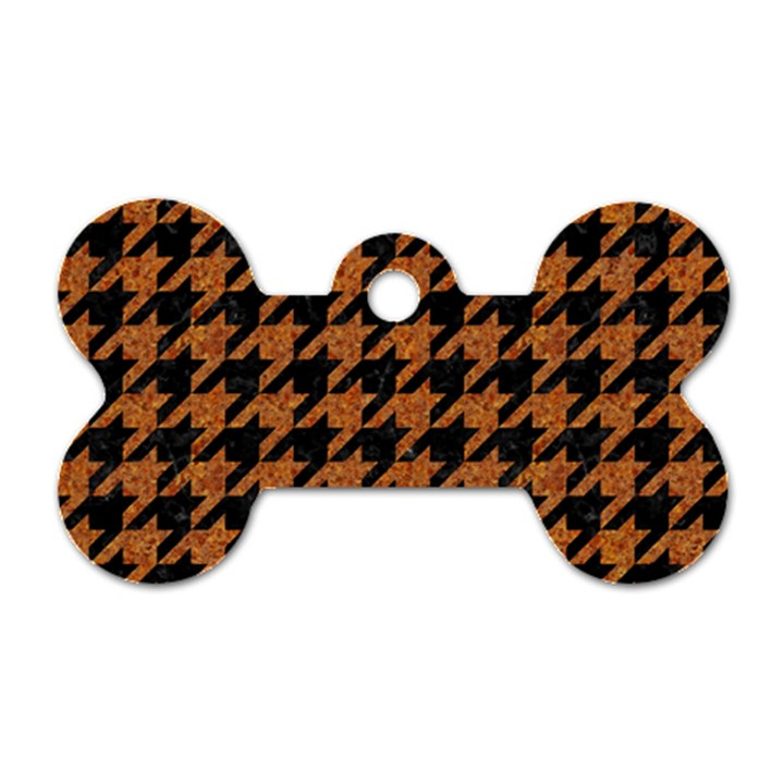 HOUNDSTOOTH1 BLACK MARBLE & RUSTED METAL Dog Tag Bone (One Side)