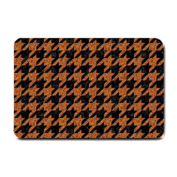 HOUNDSTOOTH1 BLACK MARBLE & RUSTED METAL Small Doormat
