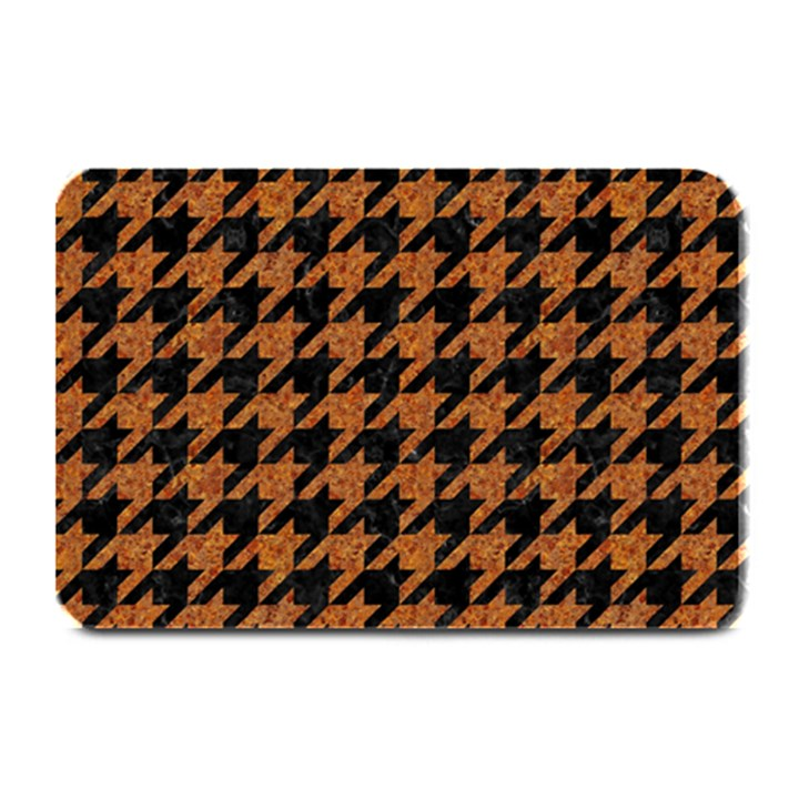 HOUNDSTOOTH1 BLACK MARBLE & RUSTED METAL Plate Mats
