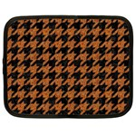 HOUNDSTOOTH1 BLACK MARBLE & RUSTED METAL Netbook Case (Large) Front