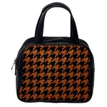 HOUNDSTOOTH1 BLACK MARBLE & RUSTED METAL Classic Handbags (2 Sides) Back