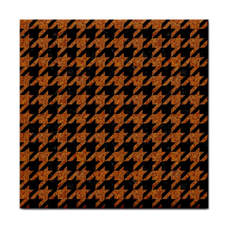 HOUNDSTOOTH1 BLACK MARBLE & RUSTED METAL Face Towel