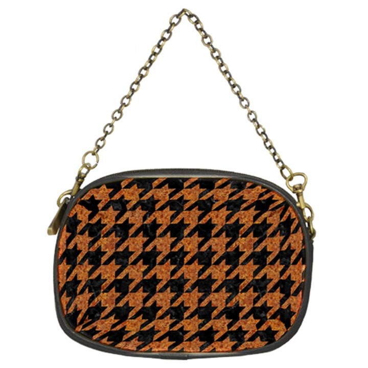 HOUNDSTOOTH1 BLACK MARBLE & RUSTED METAL Chain Purses (Two Sides)