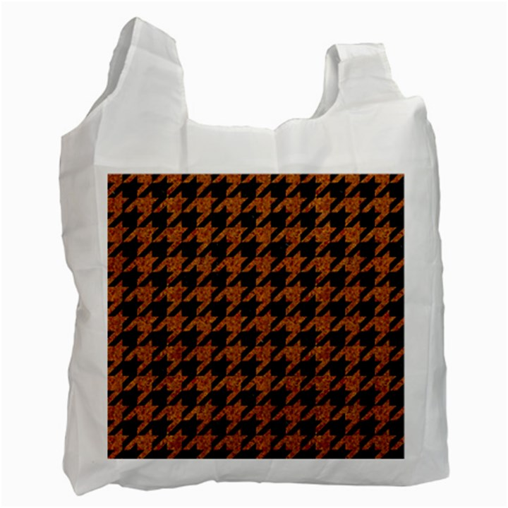 HOUNDSTOOTH1 BLACK MARBLE & RUSTED METAL Recycle Bag (One Side)