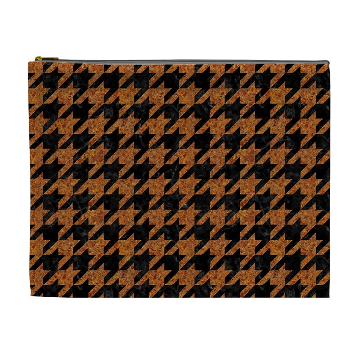 HOUNDSTOOTH1 BLACK MARBLE & RUSTED METAL Cosmetic Bag (XL)