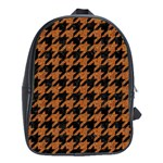 HOUNDSTOOTH1 BLACK MARBLE & RUSTED METAL School Bag (Large) Front