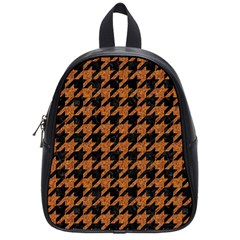 Houndstooth1 Black Marble & Rusted Metal School Bag (small)