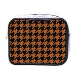 HOUNDSTOOTH1 BLACK MARBLE & RUSTED METAL Mini Toiletries Bags Front