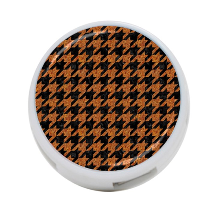 HOUNDSTOOTH1 BLACK MARBLE & RUSTED METAL 4-Port USB Hub (Two Sides)
