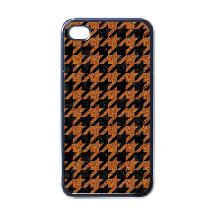 HOUNDSTOOTH1 BLACK MARBLE & RUSTED METAL Apple iPhone 4 Case (Black)