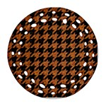 HOUNDSTOOTH1 BLACK MARBLE & RUSTED METAL Ornament (Round Filigree) Front